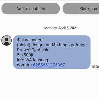 contoh sms spam pinjaman yang meresahkan