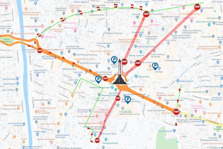 Sejumlah ruas jalan di Tugu Muda Semarang akan ditutup saat pelaksanaan peringatan Pertempuran Lima Hari Lima Malam di Semarang.