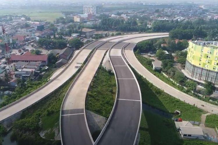 Sebagian ruas Tol Cengkareng-Batuceper-Kunciran stap beroperasi fungsional jelang Libur Natal 2020 dan Tahun Baru 2021. Tampak dalam gambar Simpang Susun Benda.