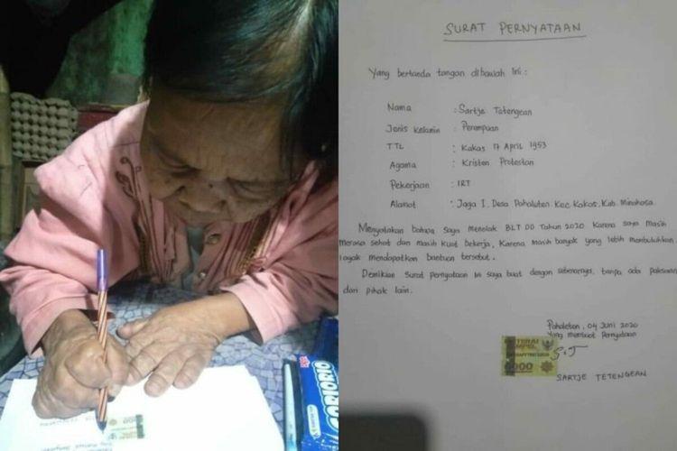 Nenek Sartje Tetengean (67) saat menandatangi surat pernyataan menolak menerima BLT DD (Dok. Ketua Bawaslu Sulut Herwyn Malonda)
