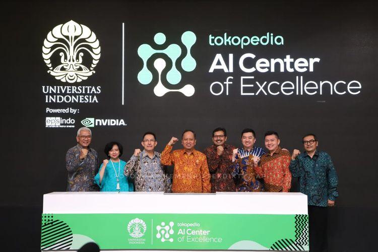 UI dan Tokopedia menjalin kerja sama Pusat Unggulan Kecerdasan Buatan yang diresmikan Menristekdikit Mohamad Nasir di UI, Depok, Jawa Barat (28/3/2019).