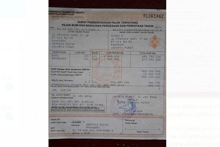 Pemerintah Provinsi (Pemprov) DKI JAKARTA membebaskan pembayaran Pajak Bumi Bangunan Pedesaan Perkotaan (PBB-P2) bagi wajib pajak yang menempati rumah seharga Rp 1 miliar ke bawah.