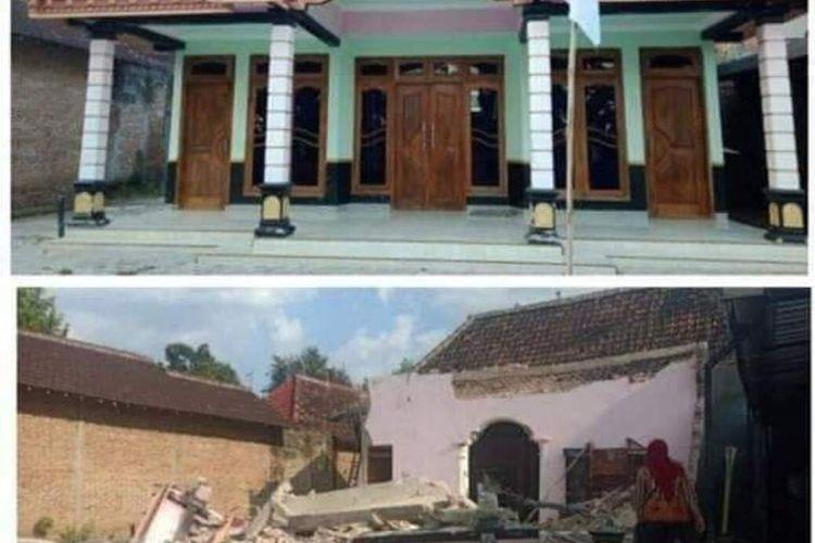 SEBELUM ROBOH—Kondisi rumah milik TKI Taiwan asal Desa Pucanganom, Kecamatan Kebonsari, Kabupaten Madiun, Jawa Timur sebelum dirobohkan.