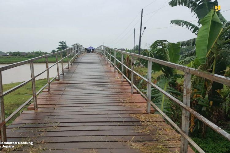 Kondisi eksisting Jembatan Gantung Bongpis, Jepara, Jawa Tengah.