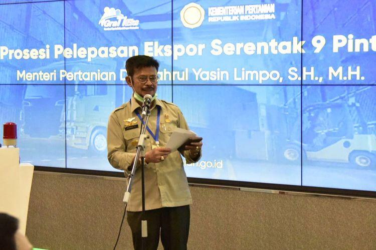 Menteri Pertanian Syahrul Yasin Limpo saat melepas ekspor pertanian dari 9 pintu utama pengiriman Kamis (30/4/ 2020).