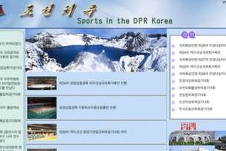 Tampilan salah satu website Korea Utara yang menyajikan informasi seputar dunia olahraga