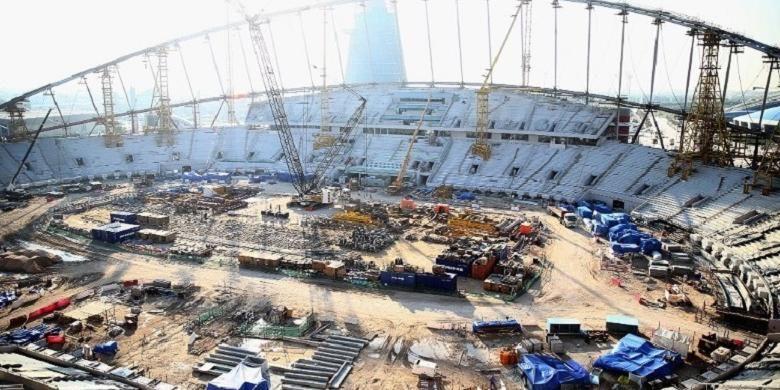 Stadion Internasional Qatar di ibu kota Doha dipersiapkan untuk ajang Piala Dunia 2022