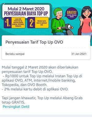 Pengumuman yang disebar Ovo di dalam aplikasi terkait biaya top up.