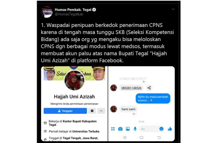 Tangkapan layar unggahan Twitter yang menyebutkan adanya penipuan CPNS mengatasnamakan bupati Tegal