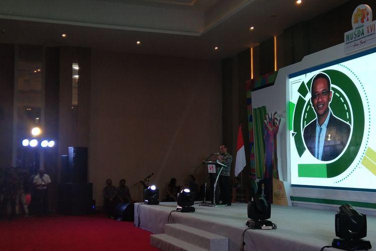 Kepala BKPM Bahlil Lahadalia saat sambutan pada Musda Himpunan Pengusaha Muda Indonesia (Hipmi) Jawa Barat ke-16 di Hotel Swissbelinn Karawang, Senin (9/3/2020).