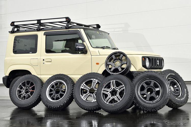 Ilustrasi pilihan ban dan pelek aftermarket buat Suzuki Jimny generasi keempat.