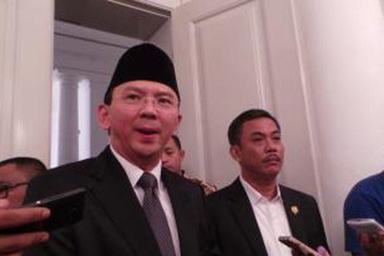 Gubernur DKI Jakarta Basuki Tjahaja Purnama bersama Ketua DPRD DKI Prasetio Edi Marsudi di Balai Kota, Kamis (13/8/2015).