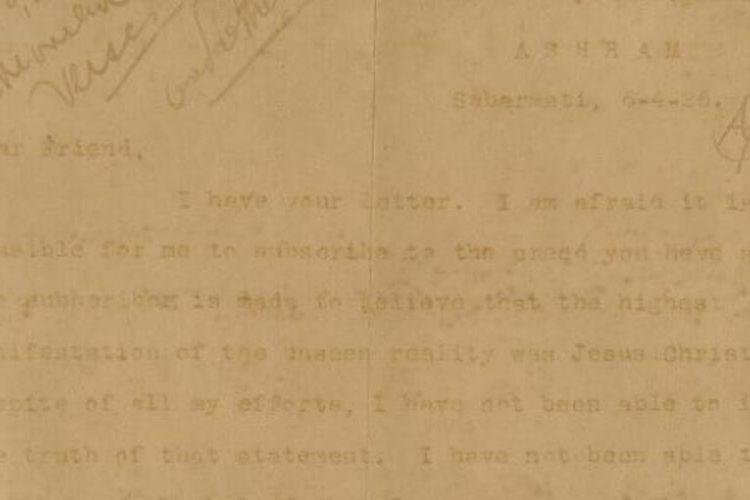 Penggalan surat Mahatma Gandhi yang mengungkapkan pandangannya tentang Yesus Kristus kepada sahabatnya yang merupakan pemuka agama Kristen di Amerika Serikat pada 1926, Milton Newberry Frantz.