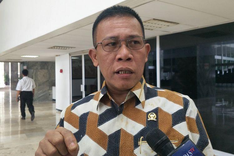 Anggota DPR dari Fraksi PDI-Perjuangan Masinton Pasaribu saat ditemui di Kompleks Parlemen, Senayan, Jakarta, Selasa (15/10/2019).