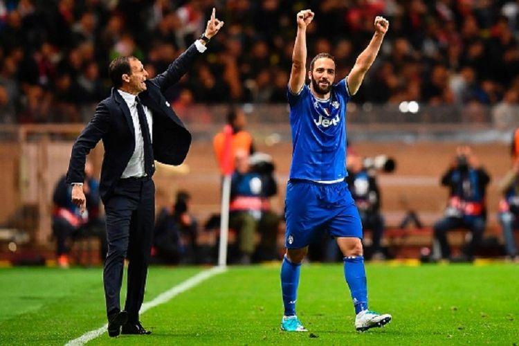 Pelatih Juventus, Massimiliano Allegri, menginstruksikan para pemainnya untuk tetap fokus meski telah unggul berkat gol Gonzalo Higuain pada laga semifinal Liga Champions kontra AS Monaco di Stade Louis II, Rabu (3/5/2017).