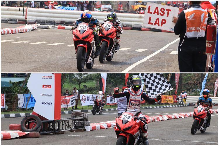 Persaingan ketat antara Aditya Prakoso dan Wahyu Widodo pada kelas balap CBR 150R Standar Open.
