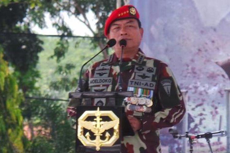 Moeldoko saat masih menjabat sebagai panglima TNI di 2015. Saat foto ini diambil, Jenderal Moeldoko sebagai Panglima TNI tengah menghadiri perayaan hari ulang tahun Kopassus di Jakarta, Rabu (29/4/2015)
