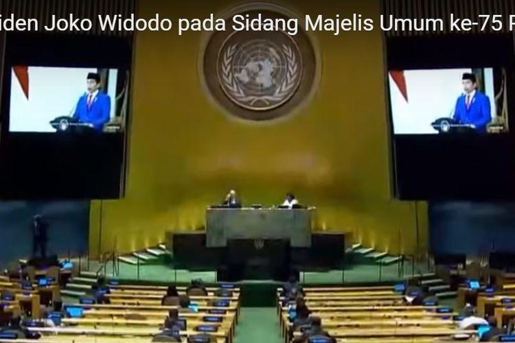 Presiden Joko Widodo berpidato di Sidang Umum ke-75 PBB, Rabu (23/9/2020), secara virtual.