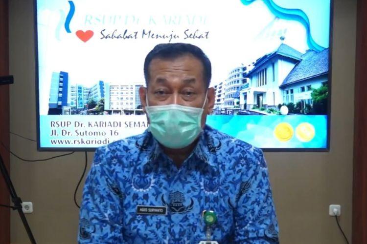 Direktur Utama RSUP Kariadi Semarang Agus Suryanto saat menjawab pertanyaan wartawan melalui video resmi RSUP Kariadi Semarang, Jumat (17/4/2020)