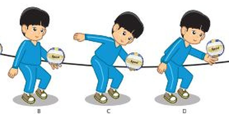 Ilustrasi servis bawah dalam permainan bola voli