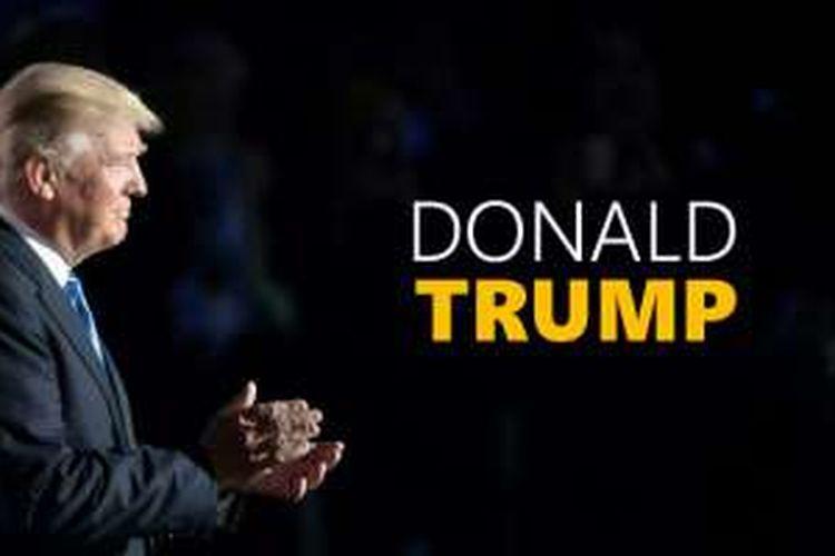 Donald Trump di panggung Konvensi Nasional Partai Republik di Quicken Loans Arena, Cleveland, Ohio, Senin (18/7/2016).