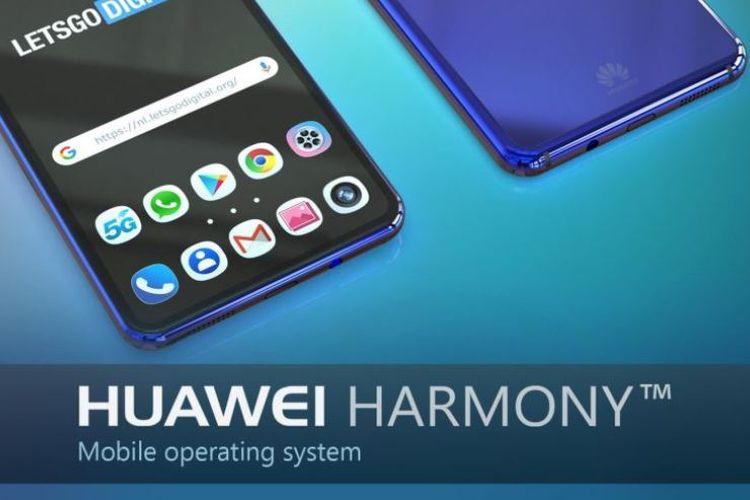 Ilustrasi gambar ponsel Huawei dengan OS Harmony