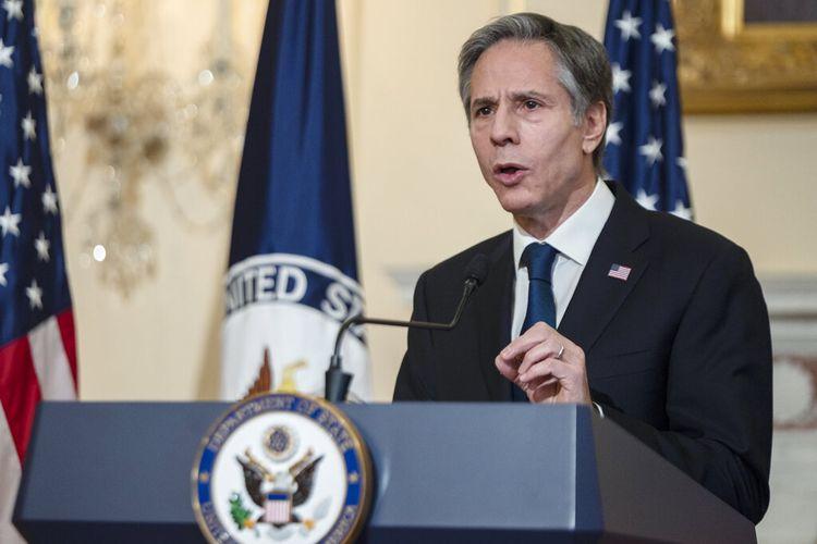 Menteri Luar Negeri AS Antony Blinken berbicara tentang kebijakan luar negeri di Kementerian Luar Negeri AS, Rabu (3/3/2021) di Washington.