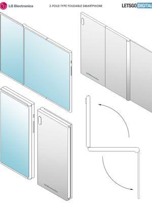 Ilustrasi desain ponsel lipat LG