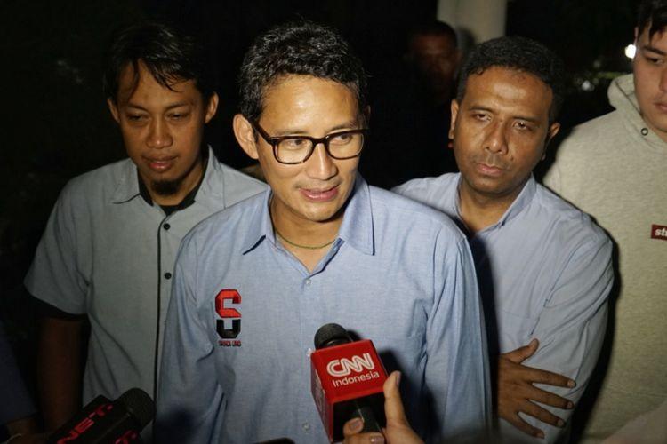 Calon wakil presiden nomor urut 02 Sandiaga Uno saat ditemui di kawasan Kalibata, Jakarta Selatan, Jumat (8/2/2019).