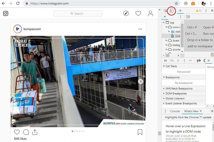 Ilustrasi mode mobile pada situs Chrome