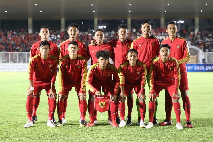 Skuad timnas U19 Indonesia saat menghadapi Timor Leste pada ajang Kualifikasi Piala Asia U19 di Stadion Madya, Senayan, Jakarta, Rabu (6/11/2019).