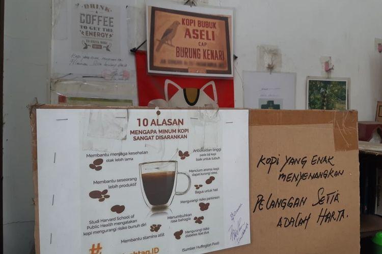 Toko Kopi Luwak di Gondangdia, Jakarta Pusat. Salah satu toko kopi legendaris nan tersembunyi di Jakarta