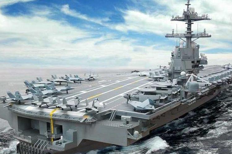 Kapal induk termahal, USS Gerald F Ford, milik Angkatan Laut AS, siap diuji coba pada Juli mendatang, dan dua bulan kemudian akan resmi beroperasi.