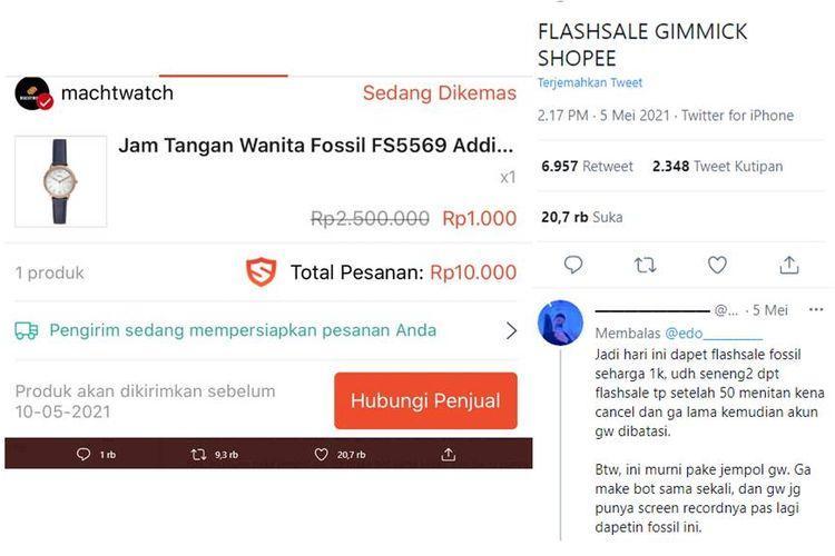 Tangkapan layar unggahan soal pengguna yang gagal dapat barang flash sale Shopee