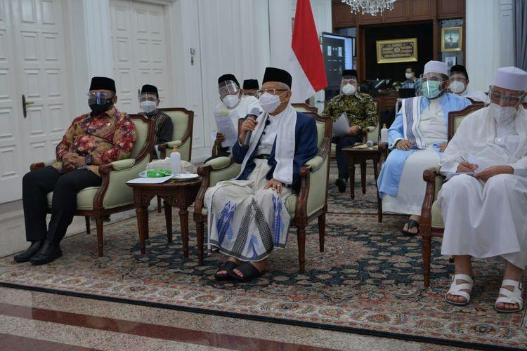 Wakil Presiden Ma'ruf Amin saat melakukan pertemuan dengan Majelis Ulama Indonesia (MUI) dan sejumlah organisasi Islam, Minggu (18/7/2021) malam.