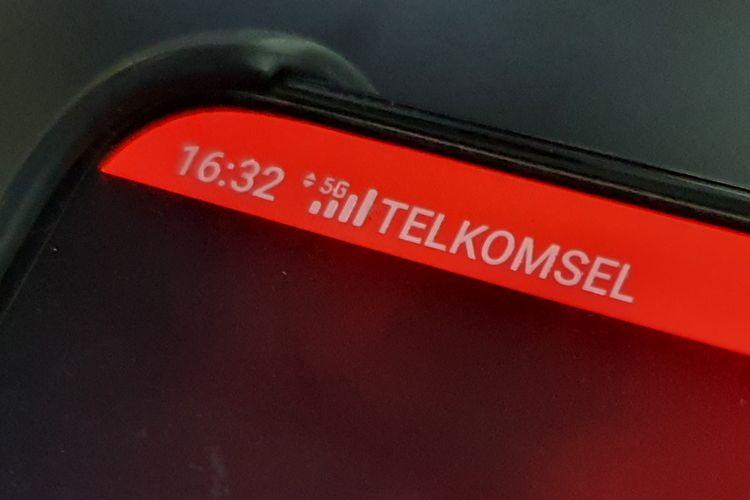 Jaringan sinyal 5G Telkomsel di ponsel Oppo.