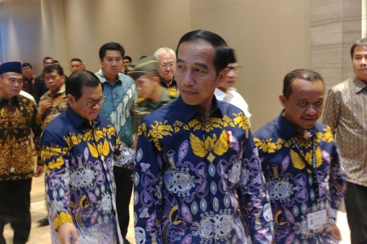 Presiden Joko Widodo usai menghadiri Rapimnas Hipmi di Tangerang, Rabu (7/3/2018).