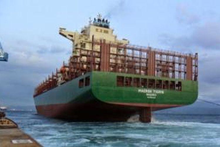 Kapal kargo MV Maersk Tigris yang diklaim sebagai kapal asal AS yang kini ditahan pemerintah Iran.