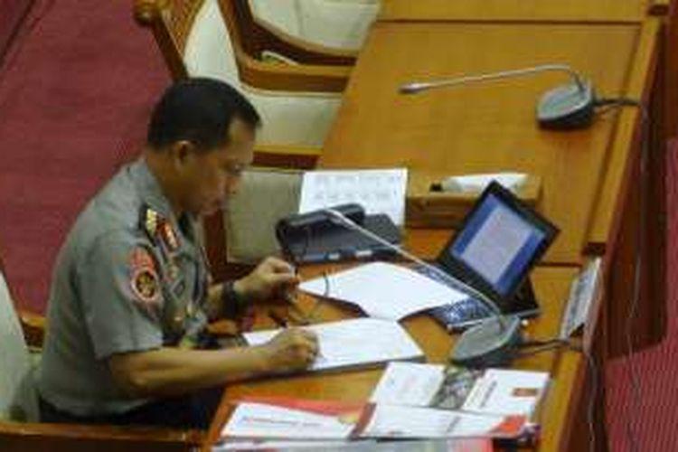 Calon tunggal Kapolri Komjen Pol Tito Karnavian menjalani uji kelayakan dan kepatutan di Komisi III DPR RI, Kamis (23/6/2016).