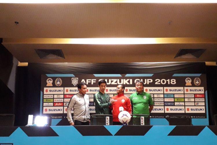 Konferensi pers yang digelar di Stadion Utama Gelora Bung Karno, Jakarta, Senin (12/11/2018). Acara tersebut digelar jelang laga kedua Grup B Piala AFF antara Indonesia Vs Timor Leste, Selasa (13/11/2018).