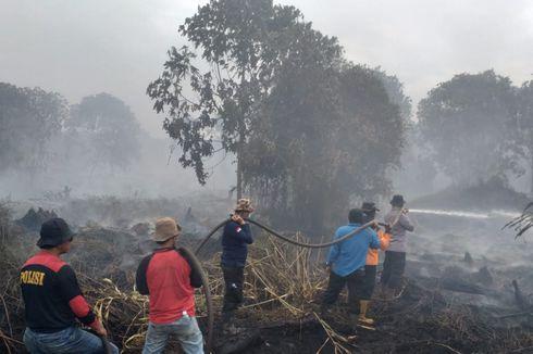 Ratusan Petugas Padamkan Kebakaran Lahan di 2 Desa di Pelalawan, Riau