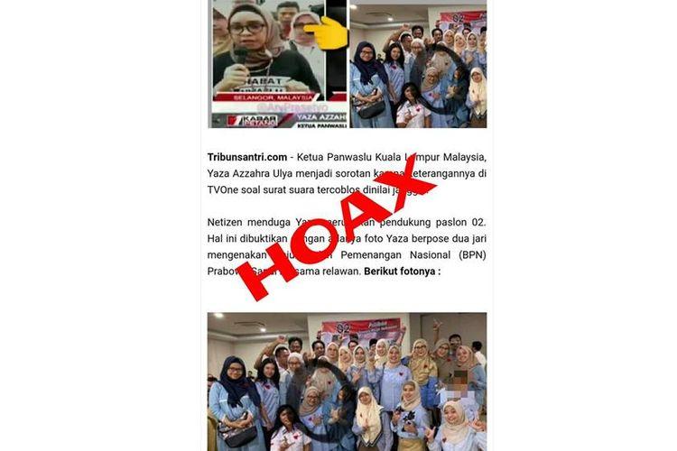 Hoaks foto Yaza Azzahra Ulyana tengah berpose dua jari beredar di salah satu media online.