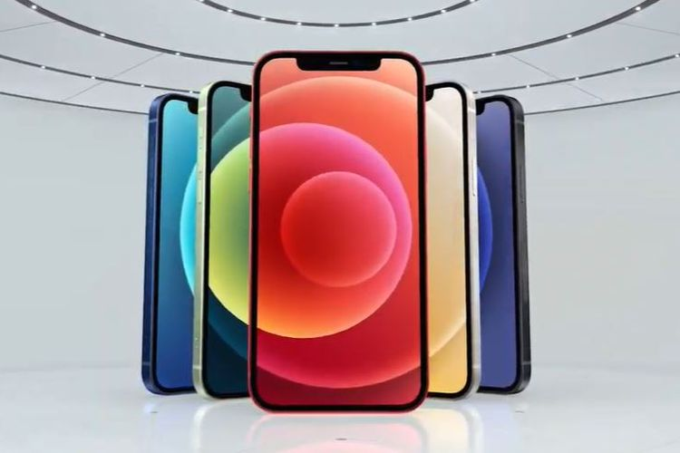 Ilustrasi lima varian warna iPhone 12.