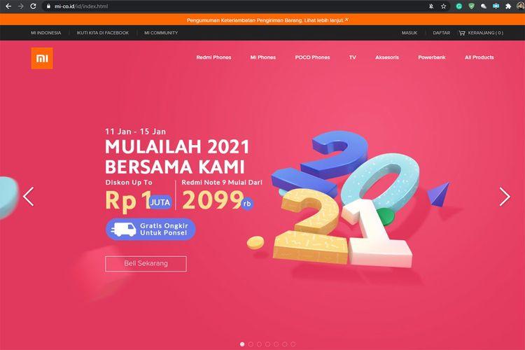 Tampilan situs Xiaomi Indonesia palsu di alamat Mi-co.id