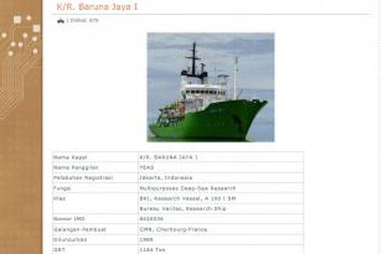 Kapal Baruna Jaya I milik Badan Pengkajian dan Penerapan Teknologi