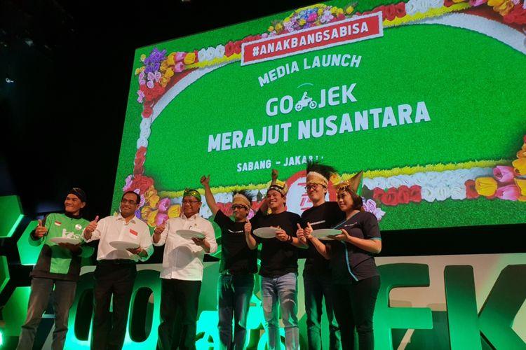 acara peresmian operasi Go-Jek di Sabang dan Merauke di Jakarta, Rabu (15/8/2018).