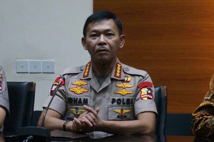 Kapolri Jenderal Polisi Idham Azis dalam konferensi pers usai bertemu pimpinan KPK di Gedung Merah Putih KPK, Senin (4/11/2019).