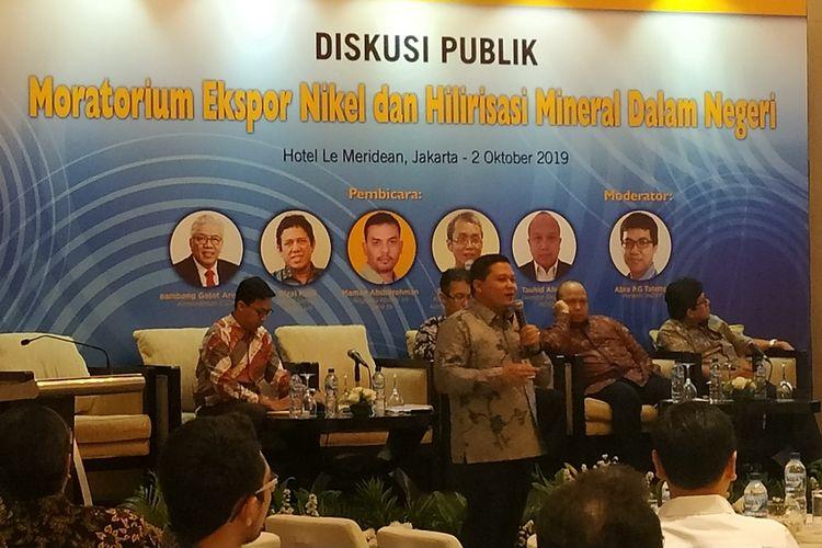Kementerian Energi dan Sumber Daya MIneral (ESDM) Kasubdit Pengawasan Usaha Eksplorasi Mineral, AndriBudhiman Firmanto menjabarkan kondisi cadangan nikel Indonesia dalam sebuah diskusi di Jakarta, Rabu (2/10/2019).