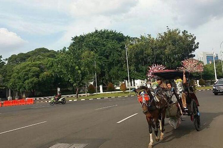 Sejumlah pengunjung memanfaatkan musim libur akhir tahun 2015 dengan menaikki delman sambil berkeliling Monumen Nasional (Monas), Jakarta Pusat pada Kamis (24/12/2015)