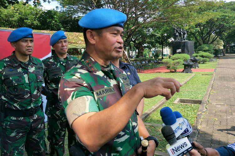 Komandan Paspampres Mayjen Maruli Simanjuntak usai meninjau gelar pasukan Satas Pengamanan Presiden dan Wakil Presiden terpilih